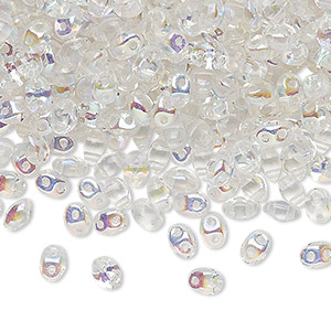 bead, preciosa twin™ pressed twin, czech pressed glass, translucent clear ab, 5x2.5mm oval with 2 holes. sold per 50-gram pkg.