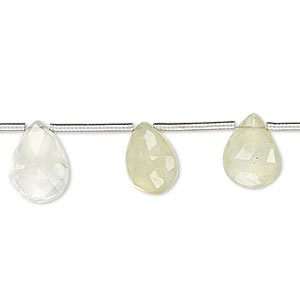 bead, prehnite (natural), 10x7mm-13x9mm hand-cut top-drilled faceted puffed teardrop, b- grade, mohs hardness 6 to 6-1/2. sold per pkg of 12 beads.