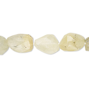 bead, prehnite (natural), mini to small hand-cut faceted nugget, mohs hardness 6 to 6-1/2. sold per 8-inch strand.
