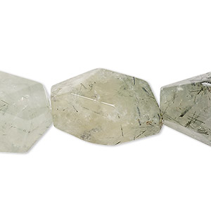 bead, prehnite (natural), small to large hand-cut faceted nugget, mohs hardness 6 to 6-1/2. sold per 16-inch strand.