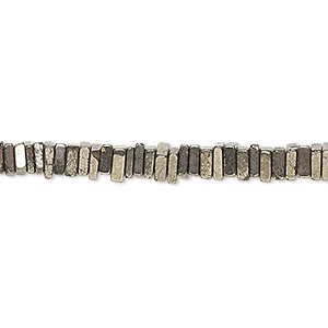 bead, pyrite (natural), 4x1mm-6x2mm hand-cut square rondelle, b grade, mohs hardness 6 to 6-1/2. sold per 8-inch strand, approximately 95-150 beads.