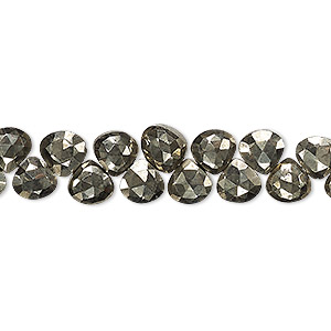 bead, pyrite (natural), 6x6mm-7x7mm hand-cut top-drilled faceted puffed teardrop, b- grade, mohs hardness 6. sold per 4-inch strand.