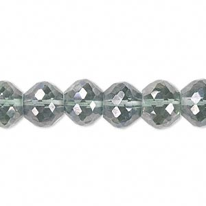 bead, quartz crystal (coated), green ab, 10x8mm hand-cut faceted rondelle, b grade, mohs hardness 7. sold per pkg of 10.