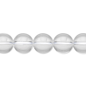 bead, quartz crystal (natural), 10mm round, a- grade, mohs hardness 7. sold per 8-inch strand, approximately 20 beads.