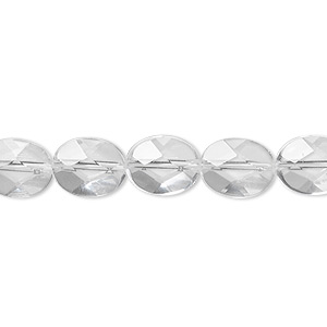 bead, quartz crystal (natural), 10x8mm faceted flat oval, a- grade, mohs hardness 7. sold per 8-inch strand, approximately 20 beads.