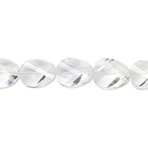 bead, quartz crystal (natural), 11x9mm hand-cut faceted twisted flat oval, b+ grade, mohs hardness 7. sold per pkg of 5.