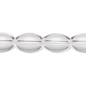 bead, quartz crystal (natural), 14x10mm oval, a- grade, mohs hardness 7. sold per 16-inch strand.
