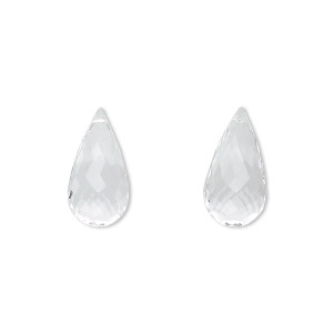 bead, quartz crystal (natural), 16x8mm hand-cut top-drilled faceted briolette, b grade, mohs hardness 7. sold per pkg of 2.