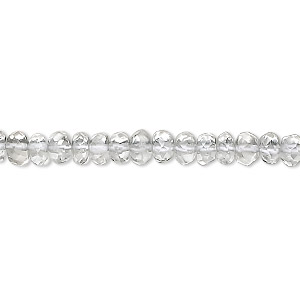 bead, quartz crystal (natural), 5x3mm hand-cut faceted rondelle, b grade, mohs hardness 7. sold per 16-inch strand.