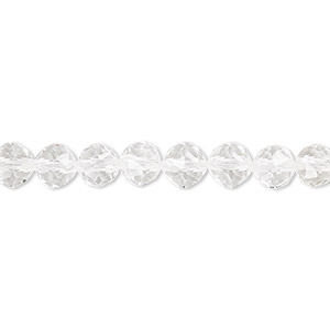 bead, quartz crystal (natural), 6mm rose-cut round with 0.5-1.5mm hole, b grade, mohs hardness 7. sold per 8-inch strand, approximately 30 beads.