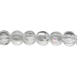 bead, quartz crystal (natural), 8mm hand-cut corrugated round, b grade, mohs hardness 7. sold per 16-inch strand.