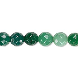 bead, quartz (dyed), medium to dark green, 7-8mm faceted round, c+ grade, mohs hardness 7. sold per 15-inch strand.