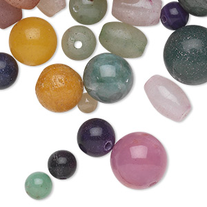 bead, quartz (natural / dyed), mixed colors, 3mm-18x14mm round and oval, d grade, mohs hardness 7. sold per pkg of 1/4 pound, approximately 160-250 beads.
