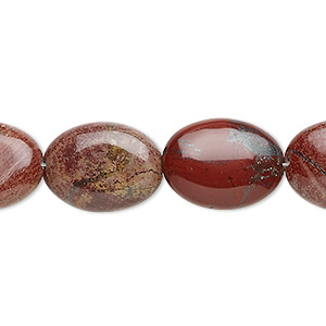 bead, rainbow brecciated jasper (natural), 18x13mm flat oval, b grade, mohs hardness 6-1/2 to 7. sold per 16-inch strand.