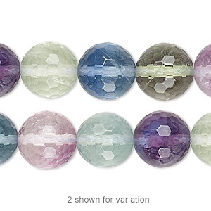 bead, rainbow fluorite (natural), 12mm faceted round, a grade, mohs hardness 4. sold per 16-inch strand.