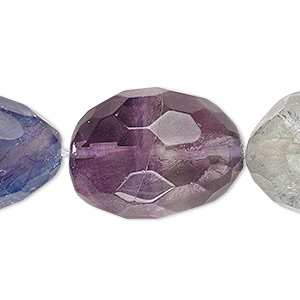 bead, rainbow fluorite (natural), large faceted nugget, mohs hardness 4. sold per 16-inch strand.