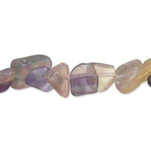 bead, rainbow fluorite (natural), matte, large chip, mohs hardness 4. sold per 16-inch strand.