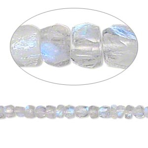 bead, rainbow moonstone (natural), 3x2mm-4x3mm hand-cut faceted rondelle, b grade, mohs hardness 6 to 6-1/2. sold per 16-inch strand.