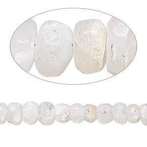 bead, rainbow moonstone (natural), 6x3mm-7x5mm hand-cut tumbled faceted rondelle, c- grade, mohs hardness 6 to 6-1/2. sold per 6-inch strand.