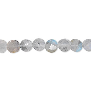 bead, rainbow moonstone (natural), 7mm hand-cut faceted flat round, b grade, mohs hardness 6-1/2 to 7. sold per 16-inch strand.
