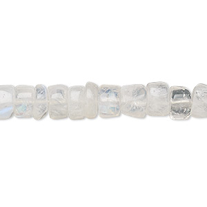 bead, rainbow moonstone (natural), 7x3mm-8x5mm hand-cut heishi, b- grade, mohs hardness 6 to 6-1/2. sold per 14-inch strand.