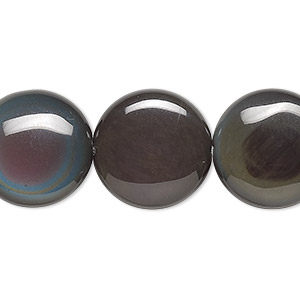 bead, rainbow obsidian (natural), 18mm flat round, a- grade, mohs hardness 5 to 5-1/2. sold per 8-inch strand, approximately 10 beads.