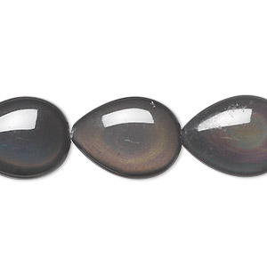 bead, rainbow obsidian (natural), 20x15mm puffed teardrop, b grade, mohs hardness 5 to 5-1/2. sold per 8-inch strand, approximately 10 beads.