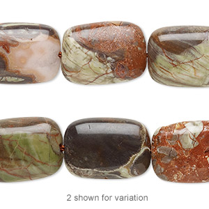 bead, rainbow rhyolite (natural), 18x13mm puffed rectangle, b grade, mohs hardness 6-1/2 to 7. sold per 8-inch strand.