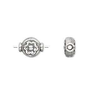 bead, rajasthani sterling silver, 12x9mm flat round with flower. sold per pkg of 4.