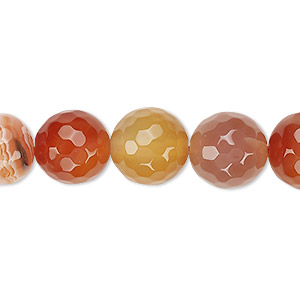 bead, red agate (dyed / heated), 11-12mm faceted round, b grade, mohs hardness 6-1/2 to 7. sold per 15-inch strand.