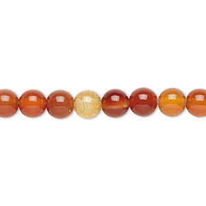 bead, red agate (dyed / heated), 6mm round, b grade, mohs hardness 6-1/2 to 7. sold per 16-inch strand.