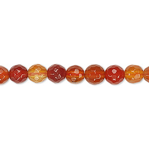 bead, red agate (dyed / heated), dark, 6-7mm faceted round, b grade, mohs hardness 6-1/2 to 7. sold per 15-inch strand.