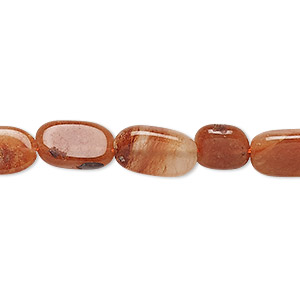 bead, red aventurine (natural), 9x7mm-14x8mm hand-cut flat oval, d grade, mohs hardness 7. sold per 13-inch strand.