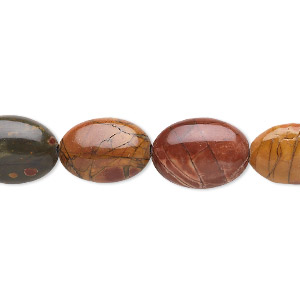 bead, red creek jasper (stabilized), 14x10mm flat oval, b grade, mohs hardness 6-1/2 to 7. sold per 16-inch strand.