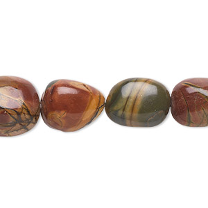 bead, red creek jasper (stabilized), small to medium nugget, mohs hardness 6-1/2 to 7. sold per 16-inch strand.