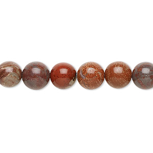bead, red flake jasper (natural), 8mm round, b grade, mohs hardness 6-1/2 to 7. sold per 16-inch strand.