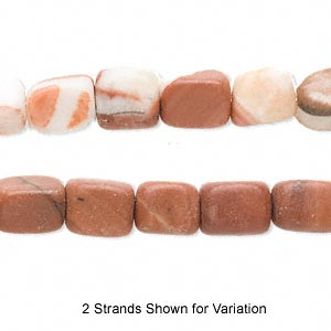 bead, red italian onyx (natural), medium pebble, mohs hardness 3. sold per 16-inch strand.