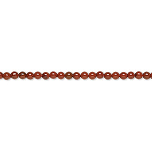 bead, red jasper (natural), 2mm round, b grade, mohs hardness 6-1/2 to 7. sold per 16-inch strand.