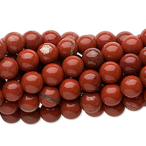 bead, red jasper (natural), 6mm round, c grade, mohs hardness 6-1/2 to 7. sold per pkg of (10) 16-inch strands.