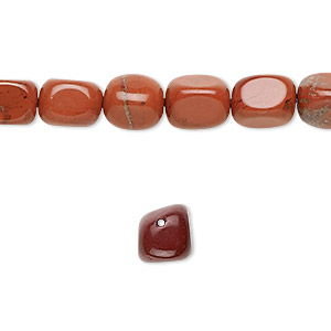 bead, red jasper (natural), small to medium tumbled pebble, mohs hardness 6-1/2 to 7. sold per 16-inch strand.