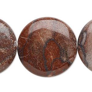 bead, red picture jasper (natural), 30mm flat round, b grade, mohs hardness 6-1/2 to 7. sold per 16-inch strand.