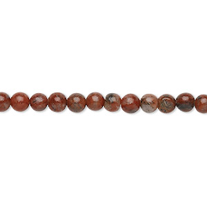 bead, red sesame jasper (natural), 4-5mm round, c grade, mohs hardness 6-1/2 to 7. sold per 15-inch strand.