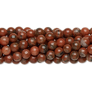 bead, red sesame jasper (natural), 4mm round, c grade, mohs hardness 6-1/2 to 7. sold per pkg of (10) 16-inch strands.
