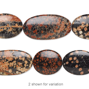 bead, red snowflake jasper (natural), 16x13mm-26x14mm hand-cut flat multi-oval, b grade, mohs hardness 6-1/2 to 7. sold per 8-inch strand, approximately 10 beads.