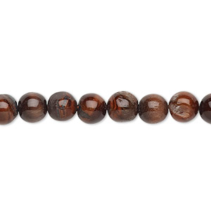 bead, red tigereye (heated), 6-7mm hand-cut uneven round, c grade, mohs hardness 7. sold per 13-inch strand.