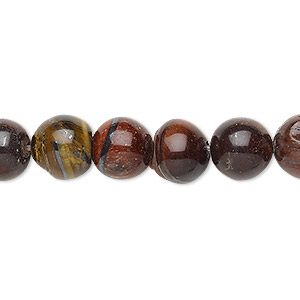 bead, red tigereye (heated), 9-11mm round, d grade, mohs hardness 7. sold per 15-inch strand.