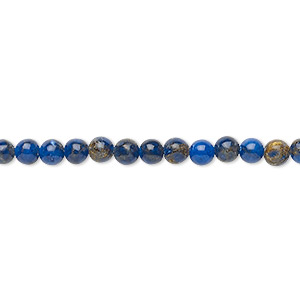 bead, resin and multi-stone (dyed / assembled), lapis blue and brown, 4mm round. sold per 8-inch strand, approximately 50 beads.