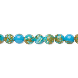 bead, resin and multi-stone (dyed / assembled), turquoise blue / brown / white, 6mm round. sold per 8-inch strand, approximately 30 beads.