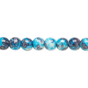 bead, resin and painted ceramic, blue / white / grey, 6mm round. sold per 16-inch strand.