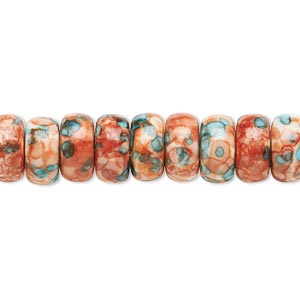 bead, resin and painted ceramic, orange / blue / white, 10x5mm rondelle. sold per 16-inch strand.